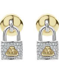 Lagos - Beloved Diamond Pave Lock Earrings - Lyst