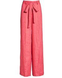 MILLY - Hayden Belted Wide Leg Italian Linen Pants - Lyst