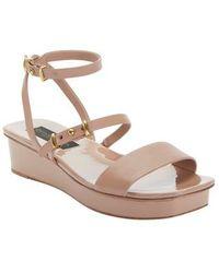 Donna Karan - Ankle Strap Wedge Sandal - Lyst
