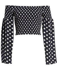Mimi Chica - Polka Dot Print Bell Sleeve Crop Top - Lyst