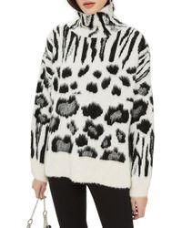 TOPSHOP - Zebra Mix Turtleneck Sweater - Lyst
