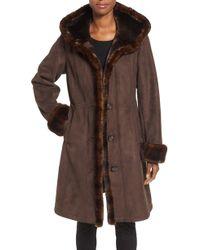 Gallery - Hooded Faux Shearling Long A-line Coat - Lyst