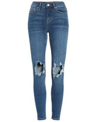 Free People - Ripped High Waist Ankle Skinny Jeans - Lyst