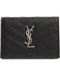 Saint Laurent - Textured Leather Card Case - - Lyst