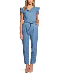 0e118f470019 Cece - Short Sleeve Denim Cotton Shirting Jumpsuit (light Authentic)  Women s Jumpsuit   Rompers