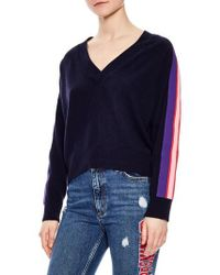 Sandro - Side Stripe Wool & Cashmere Sweater - Lyst