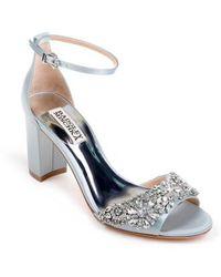 Badgley Mischka | Hines Embellished Block Heel Sandal | Lyst