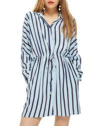 TOPSHOP - Drawstring Stripe Shirtdress - Lyst