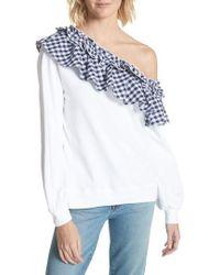 CLU - Gingham Ruffle One-shoulder Sweatshirt - Lyst