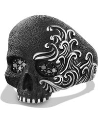 David Yurman - 'waves' Large Skull Ring With Black Diamonds - Lyst
