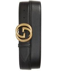 Gucci - Interlocking-g Calfskin Leather Belt - Lyst