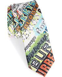 Burberry - Stanfield Tag Print Silk Skinny Tie - Lyst
