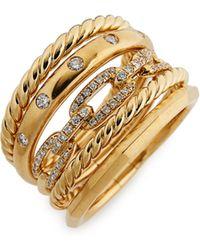 David Yurman - Stax Wide Ring With Diamonds In 18k Gold - Lyst