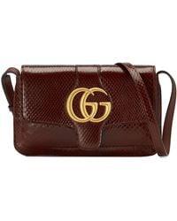 93a92dd6d14 Gucci - Running Genuine Python Small Shoulder Bag - Burgundy - Lyst