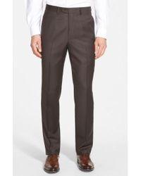 Santorelli   Flat Front Wool Trousers   Lyst