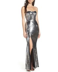 56c3ddf8ec85 Dress the Population Ellen Long Sleeve Chiffon Dress in Goldblack in ...