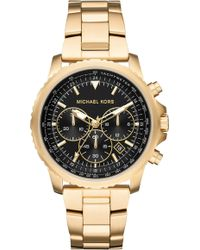 Michael Kors - Theroux Gold Tone Chronograph Watch - Lyst