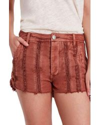 Free People - Great Expectations Lace Cutout Shorts - Lyst