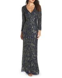 Mac Duggal - Beaded Long Sleeve Gown - Lyst