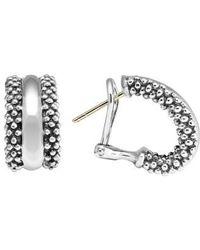 Lagos - Caviar(tm) Sterling Silver Hoop Earrings - Lyst