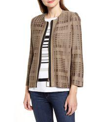 Ming Wang Zip Front Knit Jacket - Multicolour