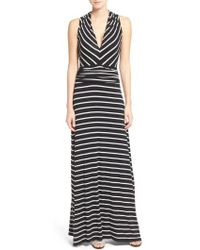 Vince Camuto - Stripe V-neck A-line Maxi Dress - Lyst