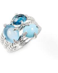 David Yurman - Chatelaine Three-gemstone Diamond Ring - Lyst