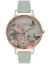 Olivia Burton - Enchanted Garden Leather Strap Watch - Lyst