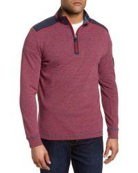 Bugatchi - Regular Fit Stripe Quarter Zip Pullover - Lyst