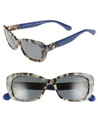 Kate Spade - Claretta 53mm Polarized Sunglasses - Havana/ Blue - Lyst