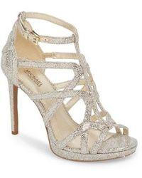 8fa50c644518 Lyst - Michael Michael Kors Belle Snake-Embossed Platform Sandals in ...