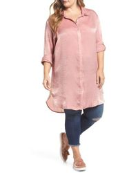 Slink Jeans - Hammered Satin Tunic Shirt - Lyst