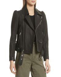 A.L.C. - Calix Puff Shoulder Leather Moto Jacket - Lyst
