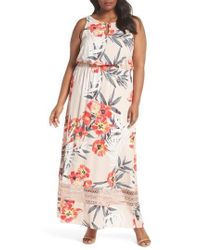 Adrianna Papell - Tropical Breeze Floral Maxi Dress - Lyst