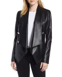 Tahari - Penelope Drape Front Leather Jacket - Lyst