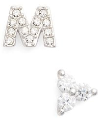 Nadri - Initial Mismatched Stud Earrings - Lyst