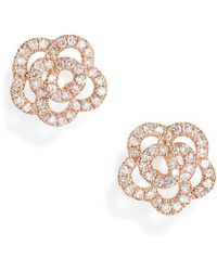 EF Collection | Rose Diamond Stud Earrings | Lyst