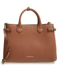 d129341f96b Lyst - Burberry House Check Fabric And Leather Small Gladstone Tote ...