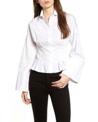 TOPSHOP | Tuck Waist Corset Shirt | Lyst