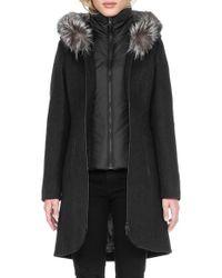 SOIA & KYO - 'charlene' Wool Blend Coat With Genuine Fox Fur - Lyst
