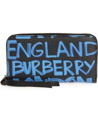 Burberry - Elmore Graffiti Print Leather Zip Around Wallet - Lyst