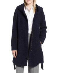 Cole Haan - Belted Boucle Wool Blend Coat - Lyst