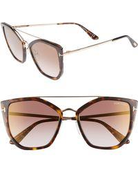 ffedc86b2f Tom Ford Rhi Opentemple Oversized Sunglasses in Brown - Lyst
