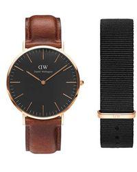 Daniel Wellington - Classic Leather Strap Watch & Nylon Strap Gift Set - Lyst