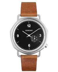 Komono - Orson Geo Leather Strap Watch - Lyst