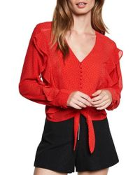 Bardot - Dotted Tie Top - Lyst
