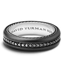 David Yurman - Streamline Titanium & Black Diamond Pave Band Ring - Lyst