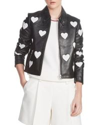 Maje - Heart Inset Leather Jacket - Lyst