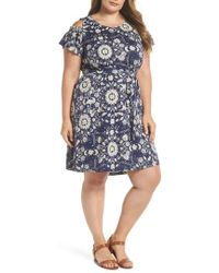 Lucky Brand - Cold Shoulder Print Belted Dress - Lyst