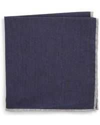 Eleventy - Solid Wool & Cotton Pocket Square - Lyst